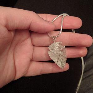 Crystal quartz Arrowhead 18 in necklace